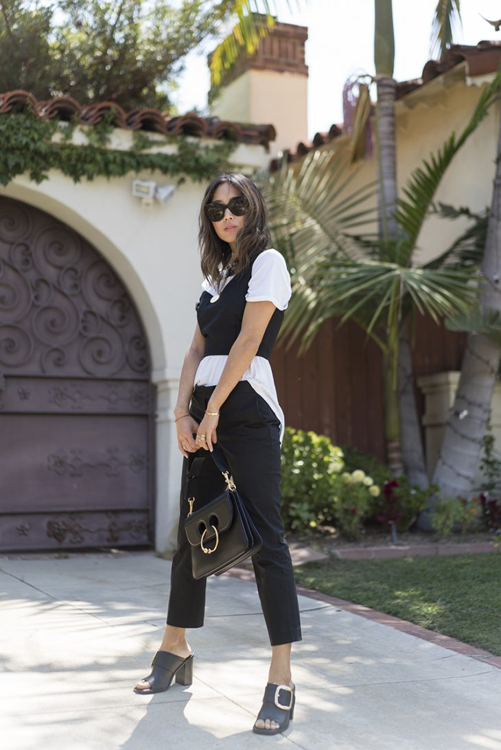 aimee_song_of_style_ministry_of_style_black_bustier_two_songs_amour_tee_gold_necklace